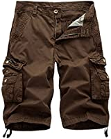 AOYOG Mens Camo Cargo Shorts Relaxed Fit Multi-Pocket Outdoor Camouflage Cargo Shorts Cotton