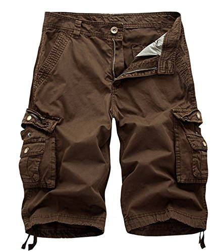 AOYOG Men's Solid Multi-Pocket Cargo Shorts Casual Slim Fit Cotton,Coffee,Tag32 US30