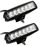 Leetop 2x18W Autoscheinwerfer LED Scheinwerfer Arbeitsscheinwerfer Offroad Zusatzscheinwerfer Auto DRL Working Lamp Spotlight Headlamp Black Die Cast Aluminium IP67