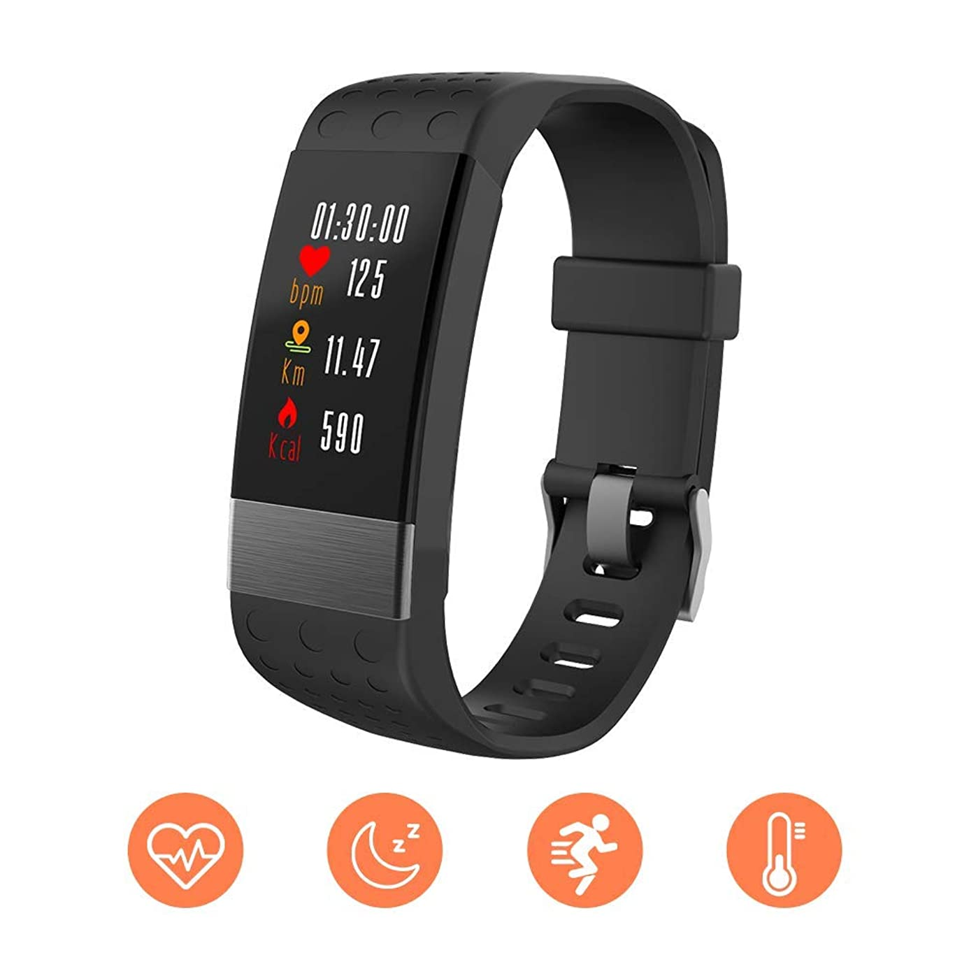 ZRSJ Smart Bracelet Fitness Tracker with Heart Rate Monitor Blood Pressure IP67 Waterproof Call/SMS Reminder Pedometer for Android & iOS Men Women (Black)