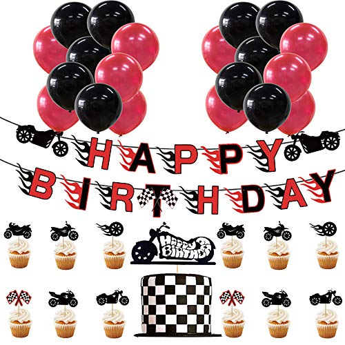 46 Pcs Motorcycle Party Set, Motorcycle Birthday Banner, Motorcycle Cake Toppers, Motorcycle Party Balloons, Red and Black Party Supplies, Riding Party Supplies, Birthday Party Supplies for Boys or Men