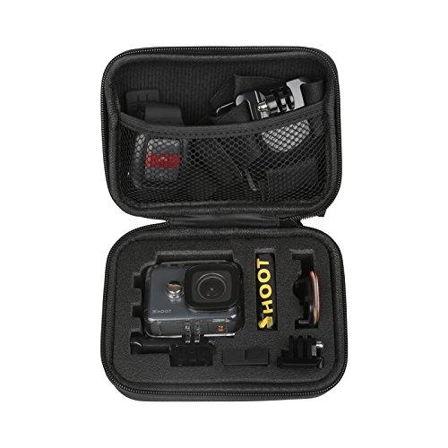 SHOOT EVA Estuche de Transporte para GoPro Hero 8/7/(2018)/6/5/4/3 GoPro Fusion/GoPro Session/SJCAM SJ4000 5000 6000 YI CAM APEMAN WiMiUS Rollei QUMOX y Accesorios,Negro,16 x 12 x 6.5cm
