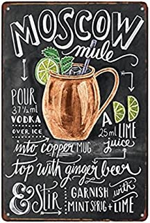 scsafsvvcv Vintage Custom Metal Signs 8 x 12 - Moscow Mule Cocktail Chic Art Wall Decort Home Yard Signs Bar Hotel Cafe Pub restauran