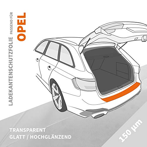 Ladekantenschutz Folie | Ladekantenschutzfolie › passgenau für: Opel Mokka B ab BJ 2021 ✓ Hochtransparent-Glänzend/Glatt ✓ Stärke 150 µm (0,15mm)