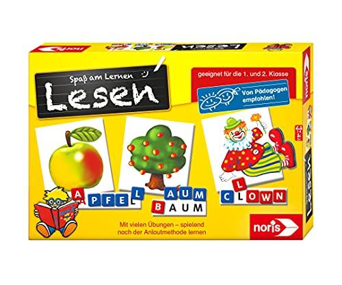Noris 606076340 Spaß am Lesen, Kinder Lernspiel zum Lesenlernen, Wort, Bildlesekarten und Buchstabensteine für Kindergarten, 1 und 2 Schulstufe, 1-4 Spieler, ab 5 Jahren