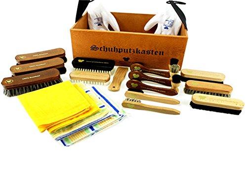 protectore protectore Schuhputzkasten RETRO XL hellbraun 23-teilig (mit Inhalt, gefüllt) - Schuhputz Set