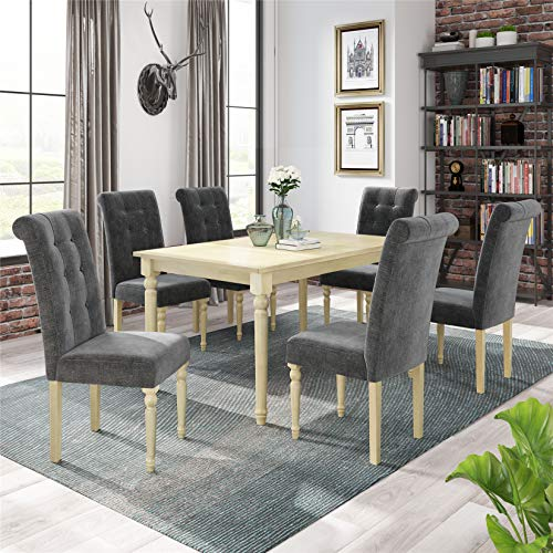 7 Piece Dining Table Set, Wood Rectangular Dining Table and 6 High Back Upholstered Dining Chairs, Rustic Style Kitchen Table Set for 6 Persons, Gray