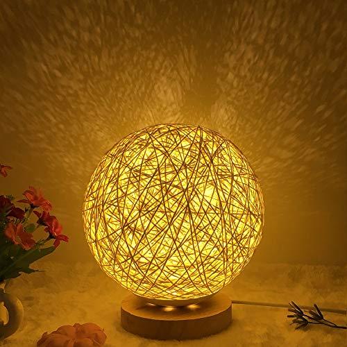 Rattan Nachttischlampe Kugel Holz Rattan LED Tischlampe LED Dekorative Nachttischlampe mit Steuertaste Schalten und USB-Ladegerät für Schlafzimmer Dekor Stimmung Licht (Creme farben)