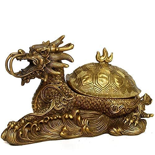 Yxxc Quemador de Incienso Grifo de Viento de Cobre Puro Escultura de Tortuga Arte Decorativo Purificación de Interiores para el hogar Adornos de Aire (tamaño: 17 * 8 * 10 cm)