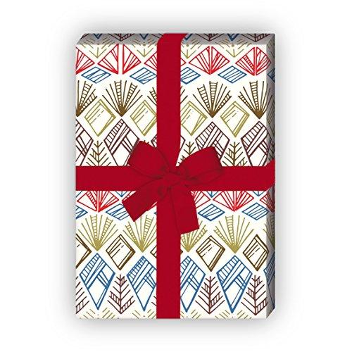 Leuke ethno cadeaupapierset (4 vellen), decoratiepapier, papier om in te pakken met Indiaanse patronen, blauw, universeel pakpapier om mooier te schenken, 32 x 48 cm