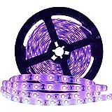 Super Bright 60 Watts UV Black Light LED Strip, 16.4FT/5M 3528 300LEDs 395nm-405nm Waterproof IP65 Blacklight Night...
