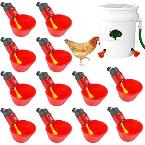 Weoxpr 12 Pieces Fully Automatic Chicken Drinking Machines - Plastic Poultry Waterer Drinking Cups Poultry Cup Waterer Drinker for Chicken, Ducks, Quail