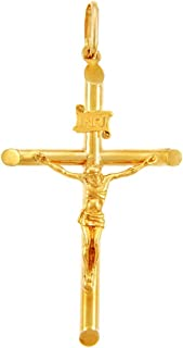 Solid 14k Yellow Gold Cross Charm Tubular Crucifix Pendant