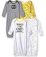 GERBER Baby Boys' 4-Pack Gown, Star, 0-6 Months