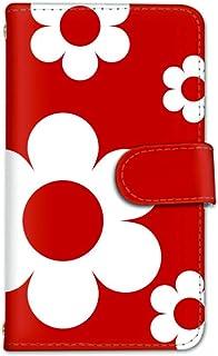 seventwo Galaxy A21 SC-42A スマホケース 手帳型 携帯ケース ミラー付 ギャラクシー エートゥエンティーワン 【J.レッド】 花柄 北欧風 デイジー flower_145