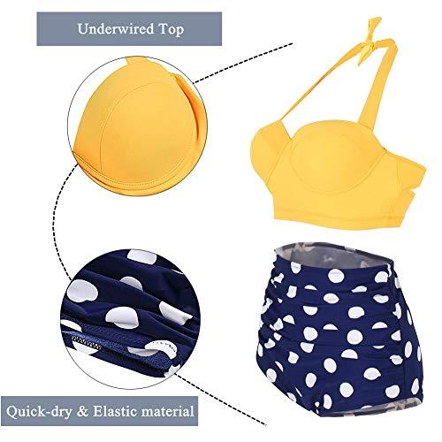 Yooeen Damen Hoher Taille Badeanzug 50er Retro Polka-Punkt Badeanzüge Bademode Zweiteiler Bikini Set Schwimmanzug - 3