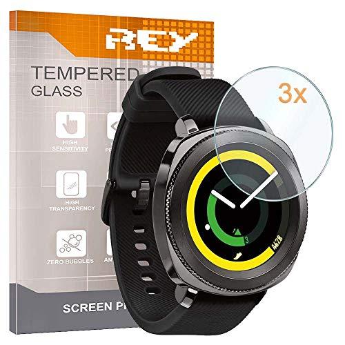 3X Protector de Pantalla para Samsung Galaxy Watch Active 2 40mm - Gear Sport SM-R600 - Galaxy Watch 3 41mm - Galaxy Watch 3 41mm - Galaxy Watch 3 Bluetooth 41mm, Cristal Vidrio Templado Premium
