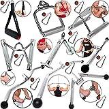 C.P. Poignée de sport/poignée parallèle/poignée de triceps/barre de tirage + 1 mousqueton pour musculation Crossfit musculation/fitness