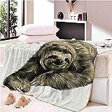 YASHASHII- Kuscheldecke Flanell Mikrofaser 180x200cm 3D Nettes Faultier-Tier Gedruckte Decke Fleecedecke Weich Wohndecke Tagesdecke Dicke Sofadecke zweiseitige Decke Sofa und Bett