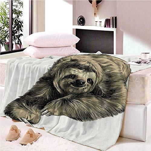 YASHASHII- Kuscheldecke Flanell Mikrofaser 180x200cm 3D Nettes Faultier-Tier Gedruckte Decke Fleecedecke Weich Wohndecke Tagesdecke Dicke Sofadecke zweiseitige Decke Sofa & Bett