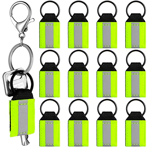 12 Pieces Reflective Keychain Tags Reflector Bag Tags, Nylon Zipper Pulls for Dog Collar Attach to Backpack Zippers Jacket Schoolbag for Kids Fall and Winter