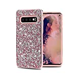 MayCase Galaxy S10 + Plus Bling Diamond Rhinestone Case for Woman Girls-Hybrid Hard Cover Shiny Sparkle Heavy Duty Shock Absorption Protective Bumper Soft TPU+PC for Samsung Galaxy S10 Plus (Pink)