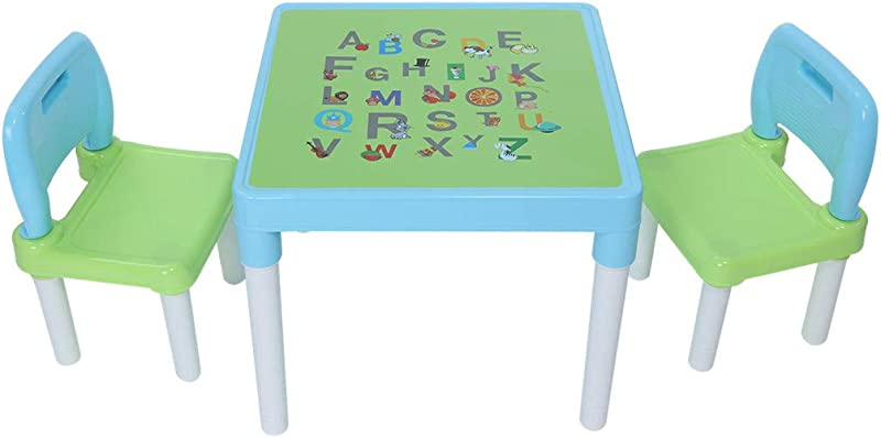 COLOR LILIJ Plastic Kids Table And 2 Chairs Set Can Bear 220 4 Pounds Interesting English Alphabet Table Curved Table Corner Design Set For Boys Or Girls Toddler Light Blue