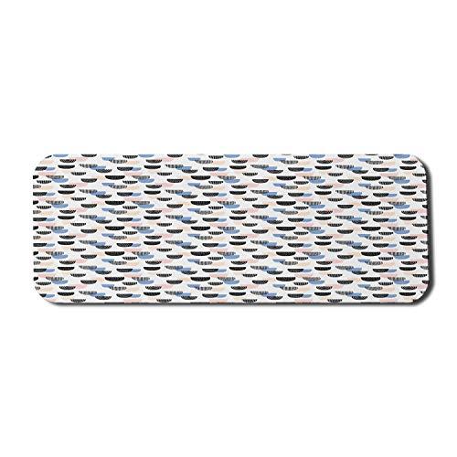Cartoon Computer Mauspad, handgezeichnete Halbkreise mit verschiedenen Designs Moderne Waage Kritzeln Kunstwerk, Rechteck rutschfeste Gummi Mousepad große mehrfarbig