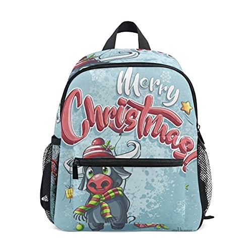 Cartel De Feliz Navidad Toro Mochila para Preescolar Toddler Kids Estudiante Mochilas...