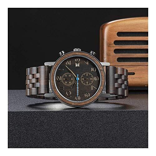 Leyue Reloj de Madera para Hombres, Reloj de Madera Macizo de Cuarzo Calendario, Movimiento Hecho a Mano japonés, Regalo para la Salud y protección Ambiental