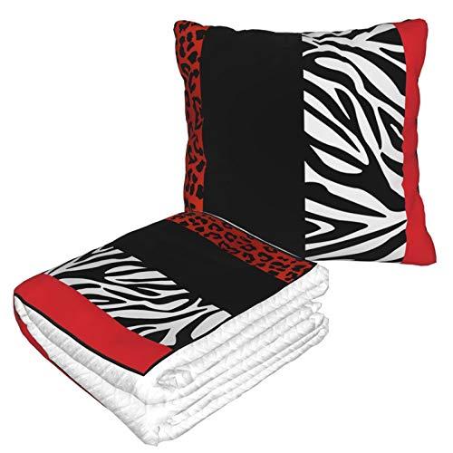 Manta de almohada de terciopelo suave 2 en 1 con bolsa suave, diseño de leopardo rojo y cebra, funda de almohada para casa, avión, coche, viajes, películas