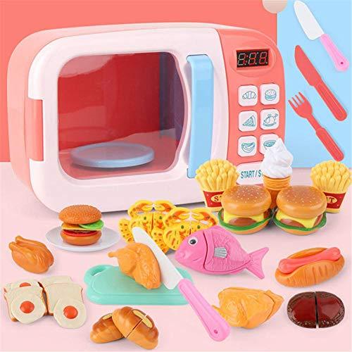 hinffinity Microondas juguetes vajilla horno juego pedagógico juego con luces y sonidos, juego de cocina pretend Play Set para niños niños pequeños niños niñas – azul/rosa