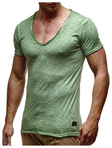 Leif Nelson Herren Sommer T-Shirt V-Ausschnitt Slim Fit Baumwolle-Anteil Moderner Männer T-Shirt V-Neck Hoodie-Sweatshirt Kurzarm lang LN6280-1 Verw. Gruen Large