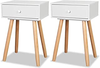 vidaXL 2X Solid Pinewood Bedside Tables White End Nightstand Telephone Stand