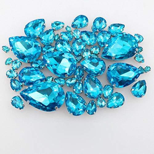 Silver Claw Setting Water Drop Shape 7 Sizes Mix 50pcs/Bag Glass Crystal sew on Rhinestone Wedding Dress Shoes Bags DIY Trim