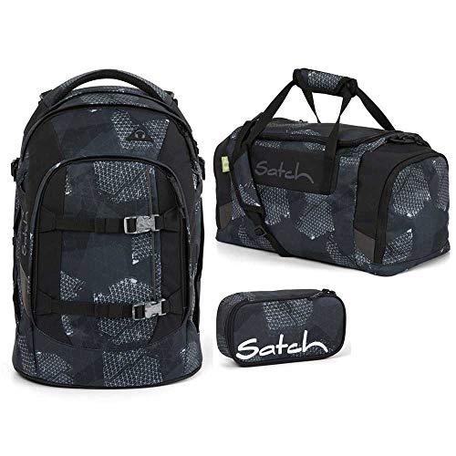 Satch Pack Schulrucksack-Set 3tlg: Schulrucksack, Schlamperbox und Sporttasche (Infra Grey)