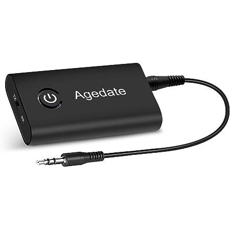 Agedate Bluetooth トランスミッター レシーバー Bluetooth送信機 受信機 一台二役 ワイヤレス オーディオ 3.5mmオーディオ(ブラック)
