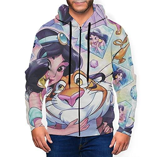 Aladdin Magic Lamp - Sudadera con capucha para hombre con bolsillo con cremallera