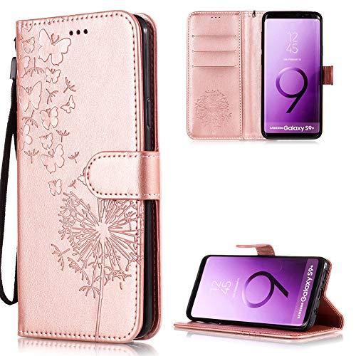 FNBK Kompatibel mit Hülle Samsung Galaxy S9 Plus Handyhülle Leder Löwenzahn Handytasche Flip Stand Case Card Slot Magnet Kratzfestes Schutzhülle Roségold