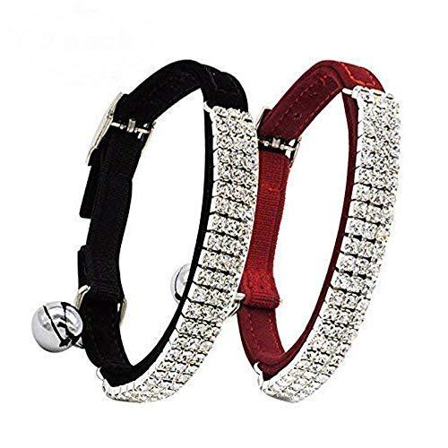 CHUKCHI Collar ajustable de terciopelo suave con diamantes de imitación con campanas, 28 cm para perros pequeños y gatos (negro y rojo)