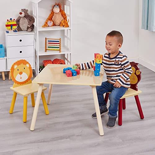 Liberty House Toys Jungle Tisch und Zwei Stuhl Set, Holz, Mehrfarbig