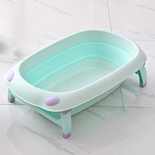 Baby tub collapsible tub newborn baby tub can sit reclining children bath large newborn baby bath supplies (Color : Blue)