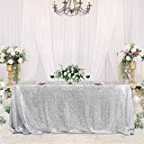 Silver Sequin Tablecloth 50x80 Inches Sparkly Table Overlays for Party Baby Shower Birthday Wedding Table Decorations