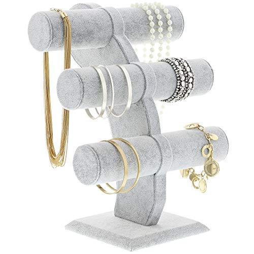 Schmuck Display Ständer, Armband Halter 3Etagen Jewelry Stand–T-Bar Schmuck Display–Jewelry Styling & Organizer für Uhren, Armbänder, Halsketten, dekorative Ketten, grau, 35,6x 16,5x 27,9cm