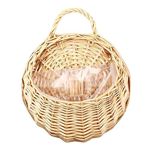 Macetas de mimbre de ratán, cesta de flores tejida, florero colgante de pared, contenedor, soporte para plantas, macetas de pared para jardín, boda, decoración del hogar, decoración de la puerta