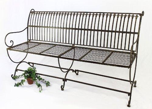 DanDiBo Bank Finca 063-JO 3-Sitzer aus Metall Gartenbank Sitzbank Baumbank 153 cm Braun