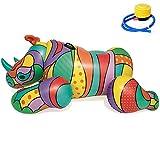 SXC Fila Flotante Inflable,Piscina Flotador Tumbona Flotadora para Adultos y Niños Hinchables Juguete para Fiesta de Piscina, Forma de Rinoceronte, Adultos y Niño (201 * 102CM)