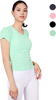 Rebody 瑜伽衬衫,短袖 T 恤,瑜伽袖 T 恤,女式短袖 T 恤 淡绿色