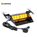 LAMPHUS SolarBlast SBWL26 Emergency Vehicle LED Dash Light [12W LED] [32 Flash Patterns] [Adjustable Mounting] [Multiple Colors Available] - Strobe Light for Dash, Deck & Windshield - Amber
