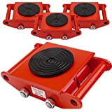 GYZJ 4PCS 6 Ton Machinery Mover Dolly Skate Industrial Cargo Trolley with 4 Coated Steel Rollers for Furniture, Appliances Heavy Duty Objects Essential Moving RED